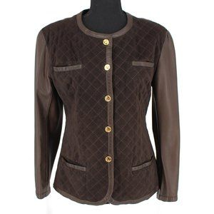 CHANEL Brown Quilted Suede Gold Coin Elephant Button Leather Jacket France VTG